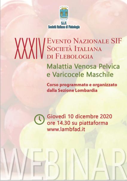 Course Image XXXIV EVENTO NAZIONALE SIF - SOCIETA' ITALIANA DI FLEBOLOGIA - Malattia Venosa Pelvica e Varicocele Maschile